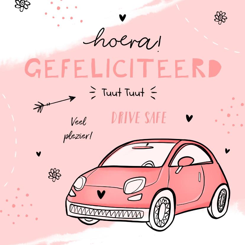 Felicitatiekaarten - Felicitatiekaart meisje auto verjaardag rijbewijs