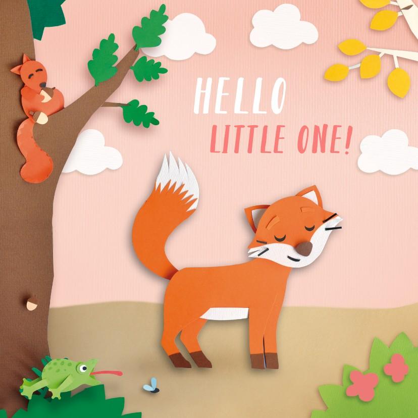 Felicitatiekaarten - felicitatiekaart meisje dieren in het bos