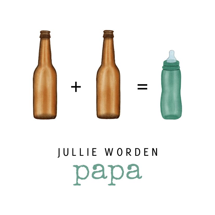 Felicitatiekaarten - Felicitatiekaart met bierflesjes en een babyflesje