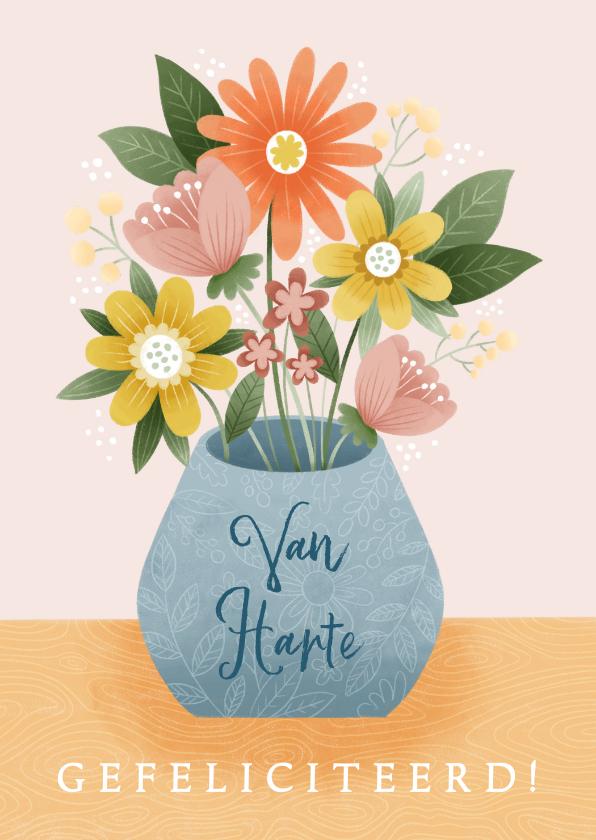 Felicitatiekaarten - Felicitatiekaart met bosje bloemen 80 jaar