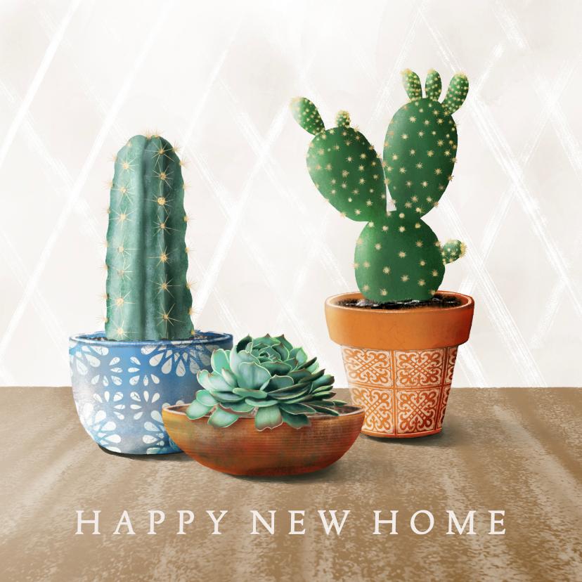 Felicitatiekaarten - Felicitatiekaart met cactussen en succulent in pot
