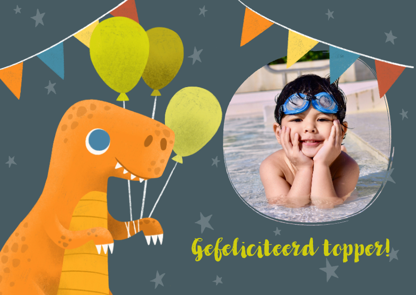 Felicitatiekaarten - Felicitatiekaart met dinosaurus en ballonnen