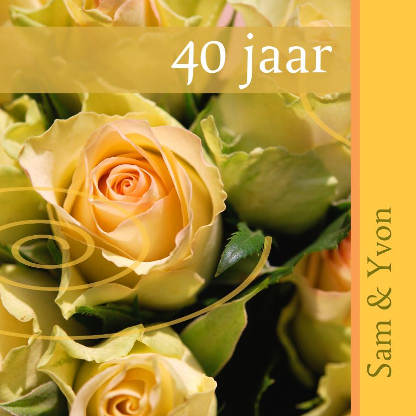 Felicitatiekaarten - Felicitatiekaart met gele rozen x jaar