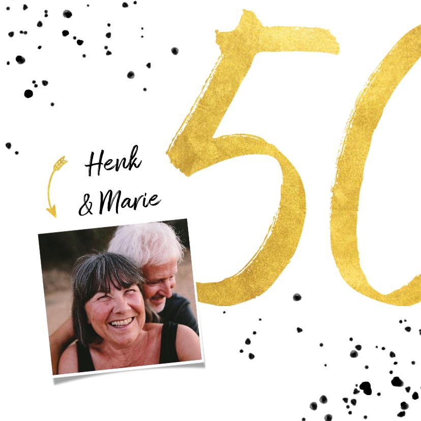 Felicitatiekaarten - Felicitatiekaart met gouden 50, spetters en foto