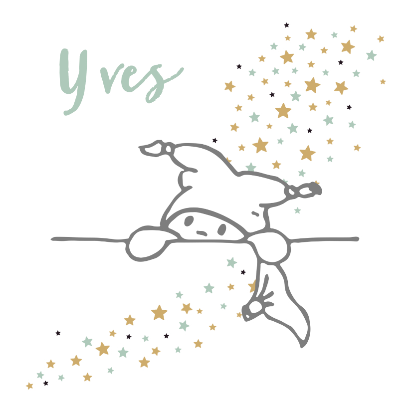 Felicitatiekaarten - Felicitatiekaart met lijntekening van baby met sterrenregen
