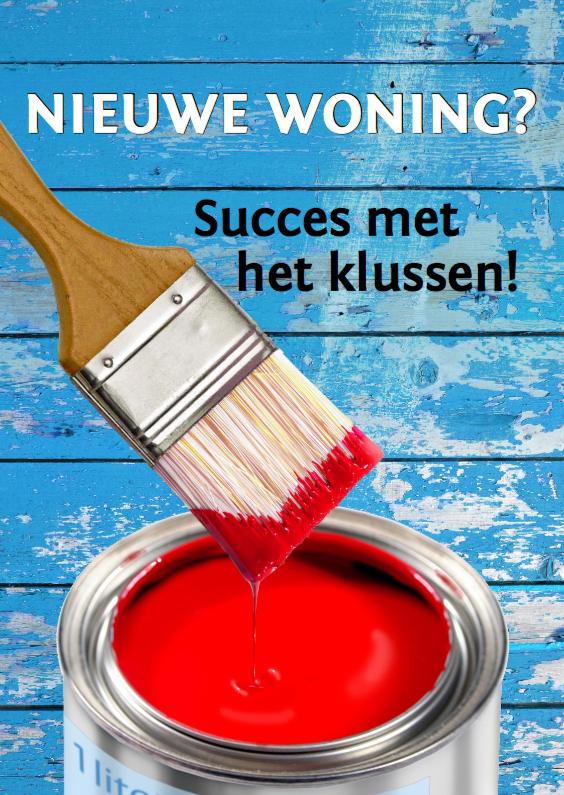 Felicitatiekaarten - Felicitatiekaart met rode verf en blauwe muur. KLAAR!