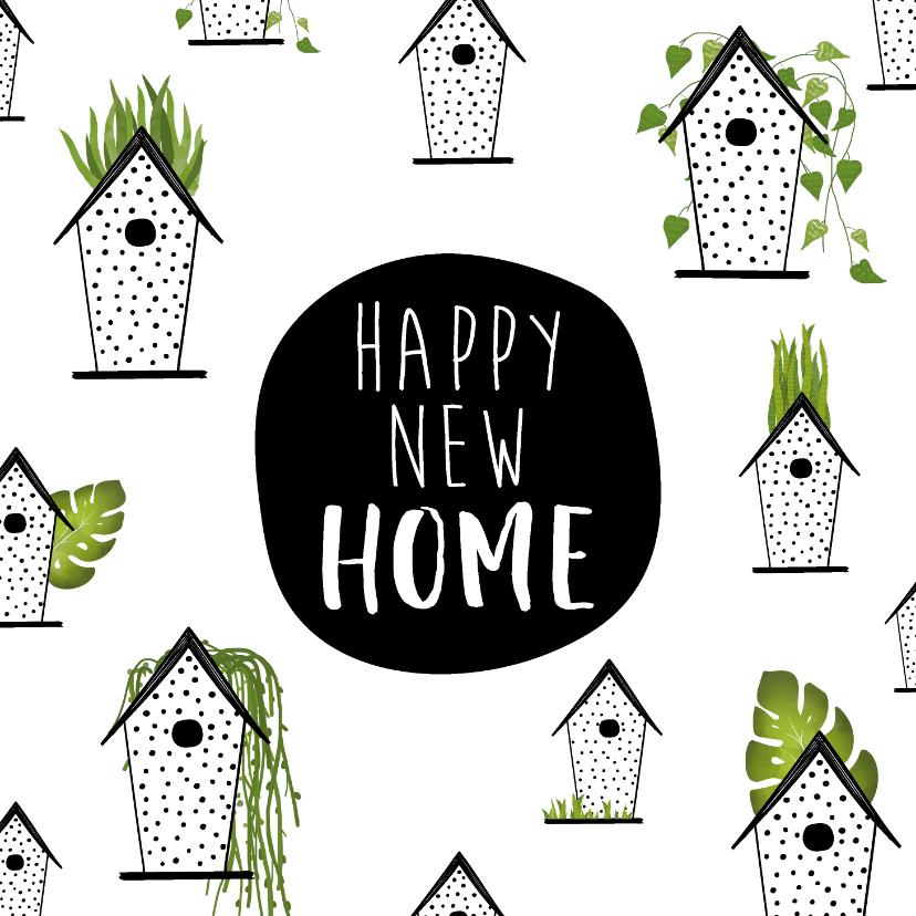 Felicitatiekaarten - Felicitatiekaart met vogelhuisjes voor een nieuwe woning