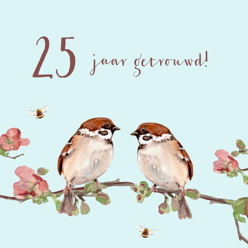 Felicitatiekaarten - Felicitatiekaart Mussen op een tak