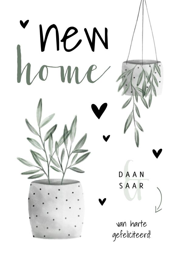 Felicitatiekaarten - Felicitatiekaart new home met planten en hartjes