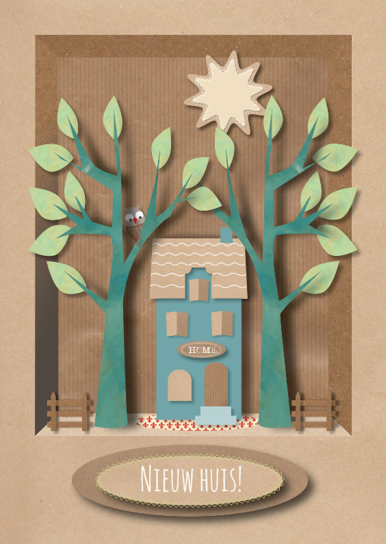 Felicitatiekaarten - Felicitatiekaart New Home Woodland
