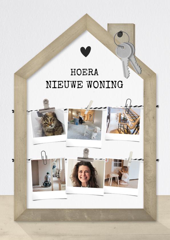 Felicitatiekaarten - Felicitatiekaart nieuw huis met houten huisje en fotocollage