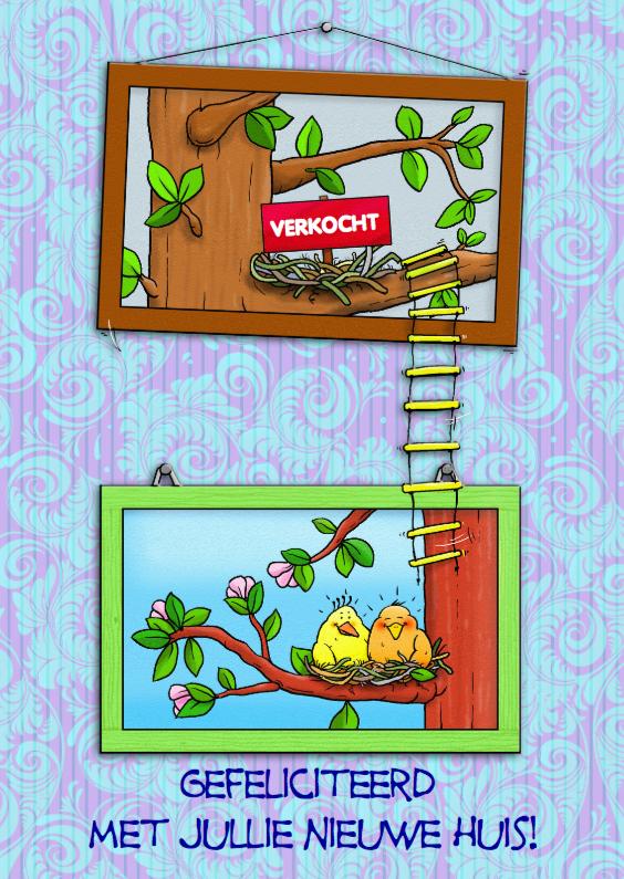 Felicitatiekaarten - Felicitatiekaart nieuw huis vogels met 2 schilderijen