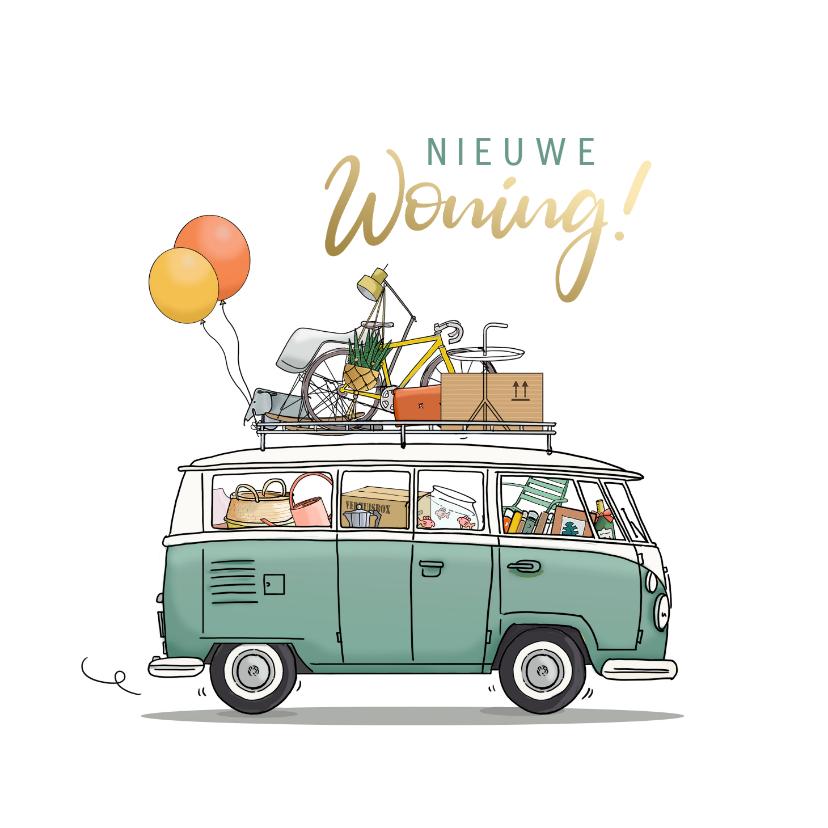 Felicitatiekaarten - Felicitatiekaart nieuwe woning busje