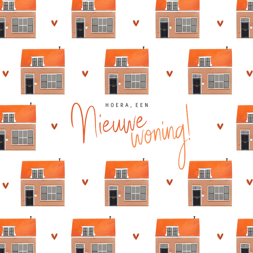 Felicitatiekaarten - Felicitatiekaart nieuwe woning huisjes illustratie patroon