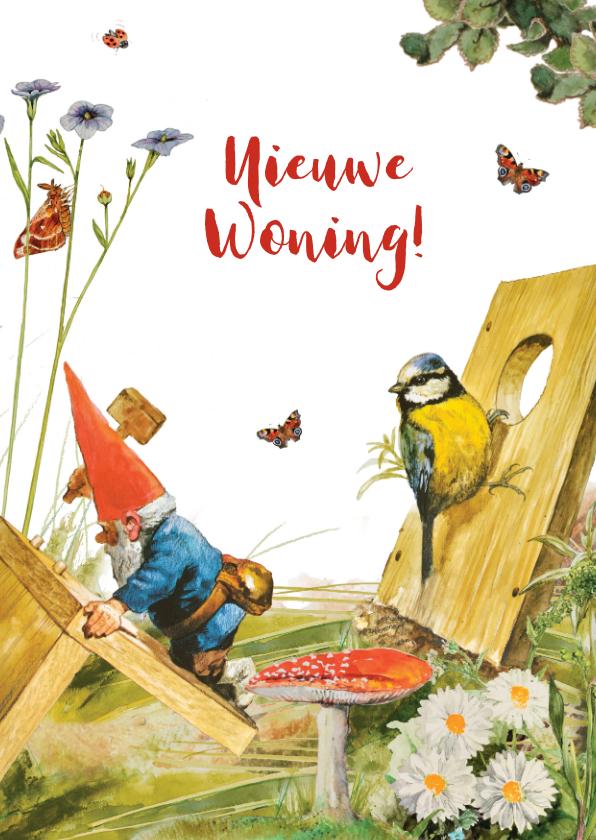 Felicitatiekaarten - Felicitatiekaart nieuwe woning kabouter en vogelhuis