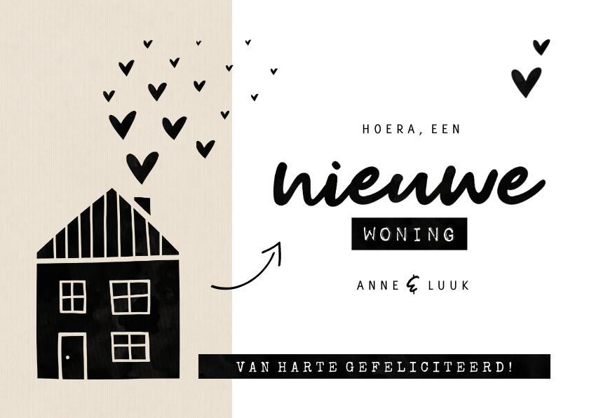 Felicitatiekaarten - Felicitatiekaart nieuwe woning kraft huisje met hartjes