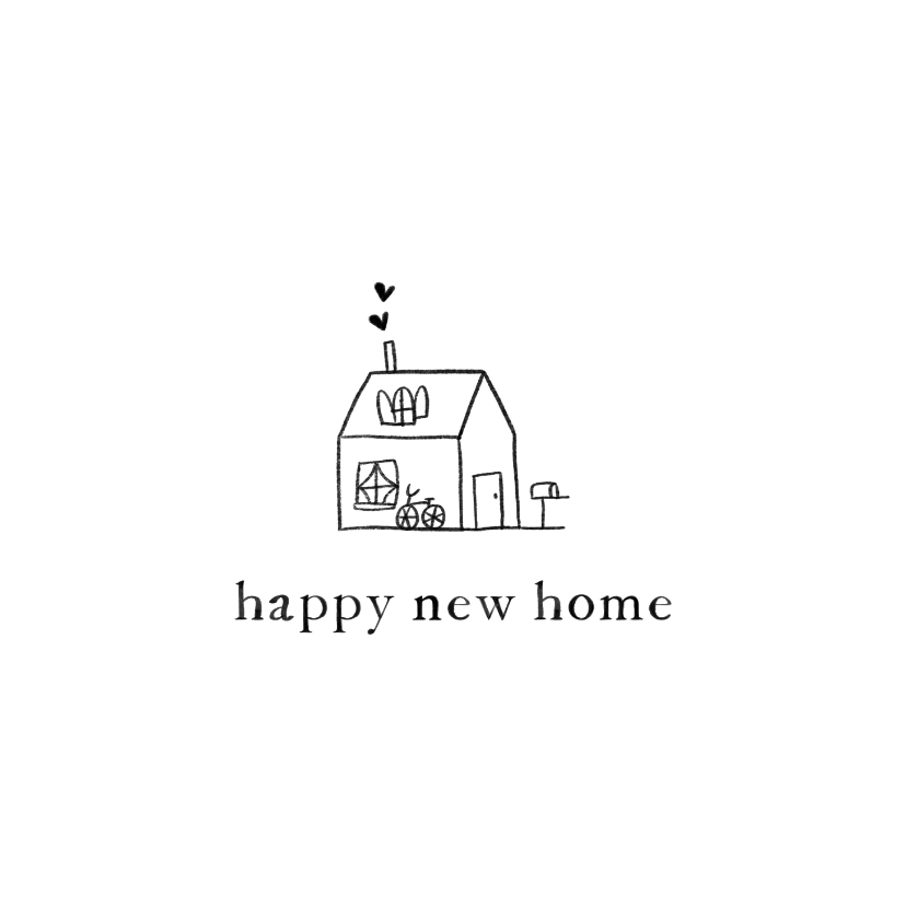 Felicitatiekaarten - Felicitatiekaart nieuwe woning met geïllustreerd huisje