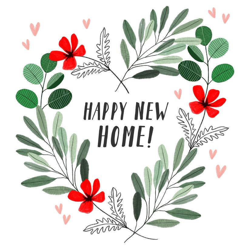 Felicitatiekaarten - Felicitatiekaart nieuwe woning met hart van bladeren