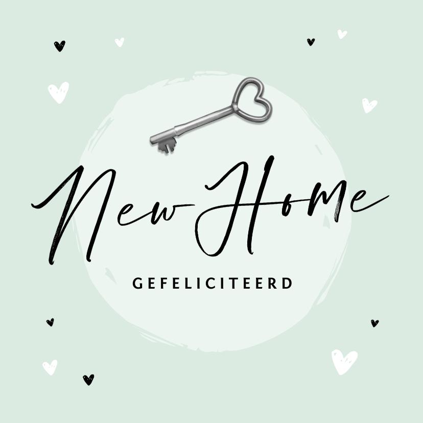 Felicitatiekaarten - Felicitatiekaart nieuwe woning new home sleutel hartjes