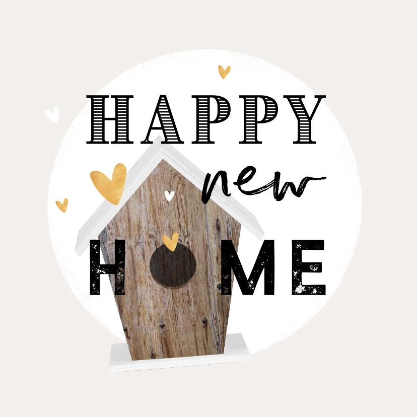 Felicitatiekaarten - Felicitatiekaart nieuwe woning vogelhuisje gouden hartjes