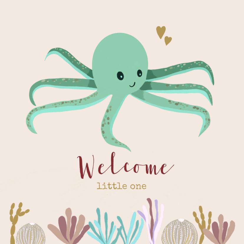 Felicitatiekaarten - Felicitatiekaart octopus groen