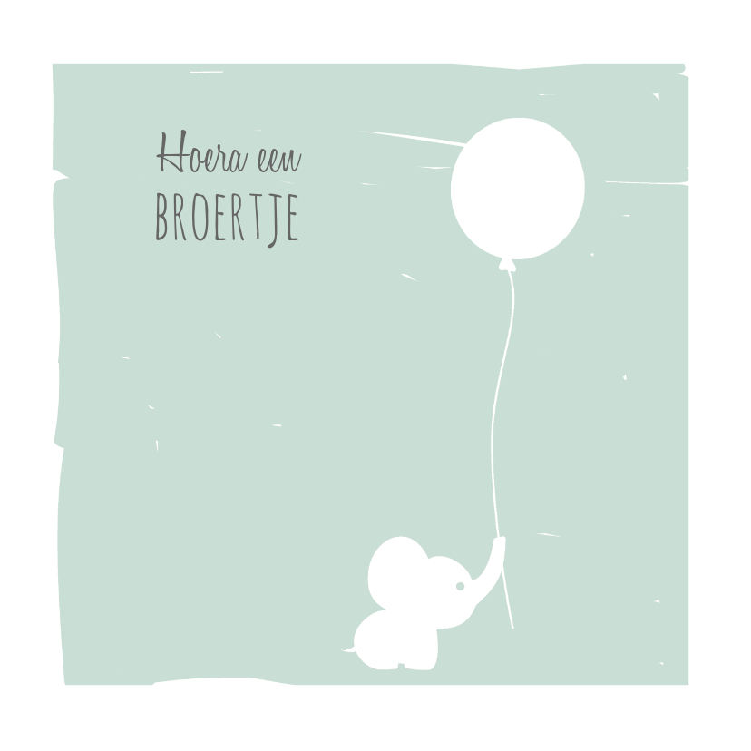 Felicitatiekaarten - Felicitatiekaart Olli olifantje met ballon mint