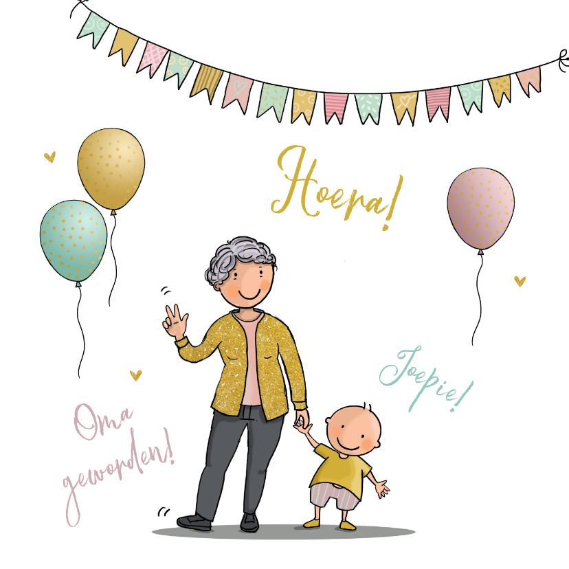 Felicitatiekaarten - Felicitatiekaart oma met kleinkind ballonnen