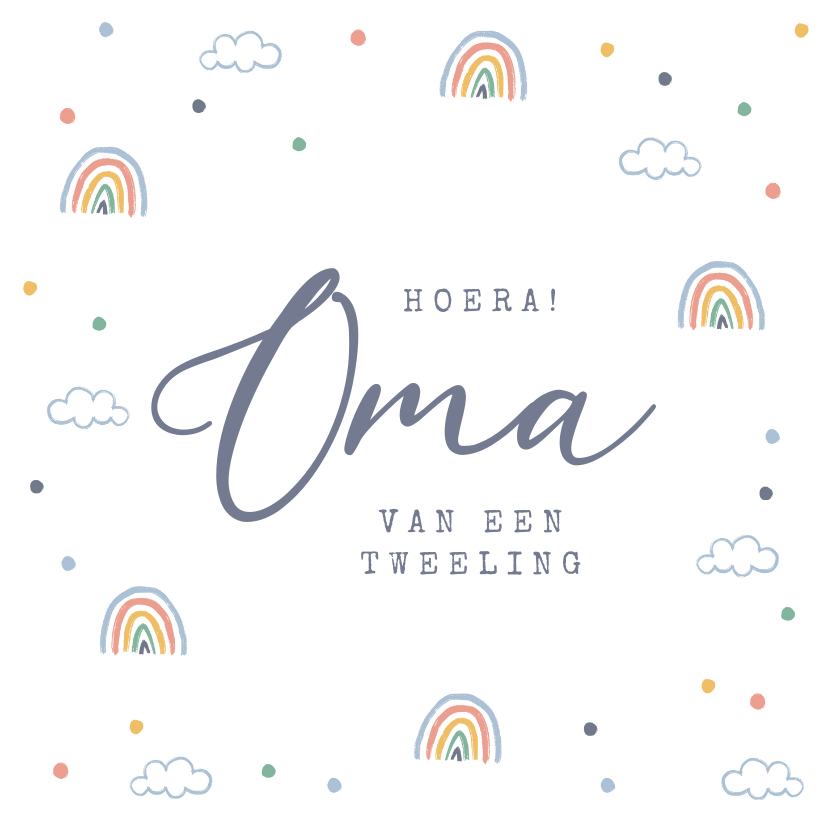 Felicitatiekaarten - Felicitatiekaart oma regenboogjes wolken confetti tweeling