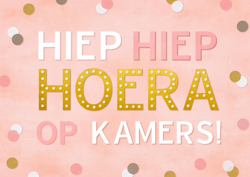 Felicitatiekaarten - Felicitatiekaart op kamers met confetti voor een meisje