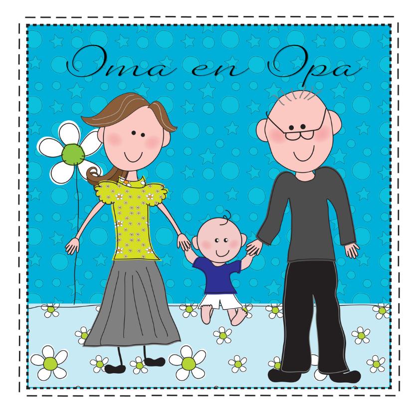 Felicitatiekaarten - Felicitatiekaart opa en oma blauw