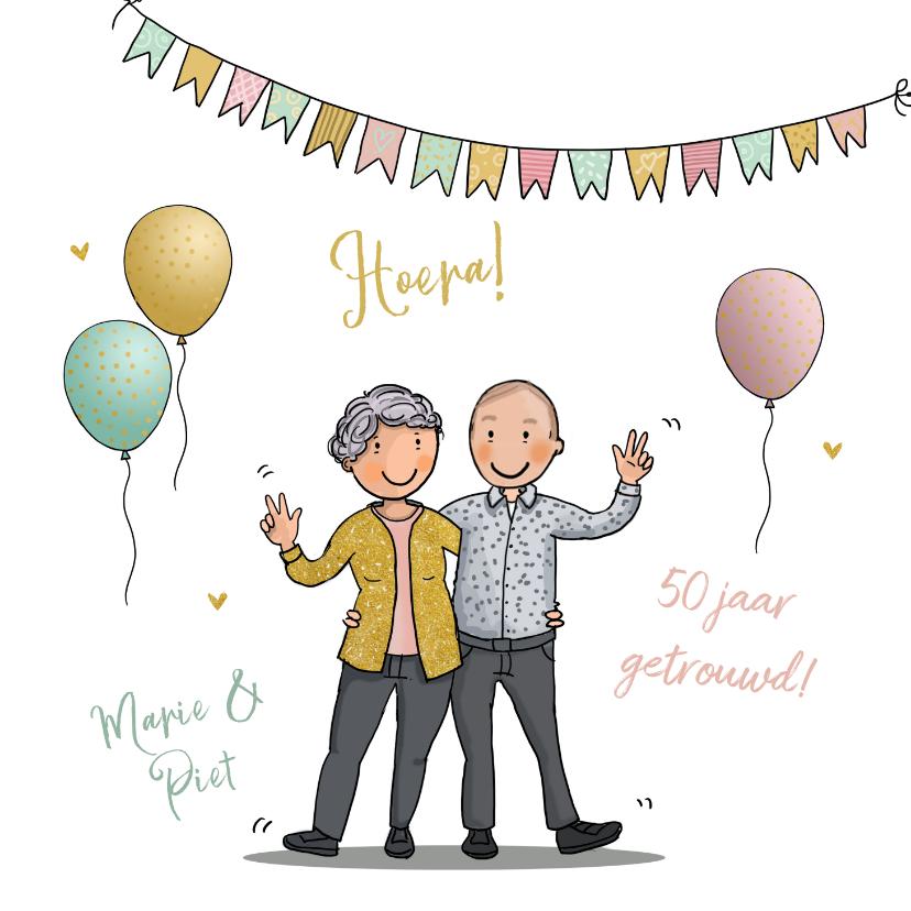 Felicitatiekaarten - Felicitatiekaart opa en oma huwelijksjubileum