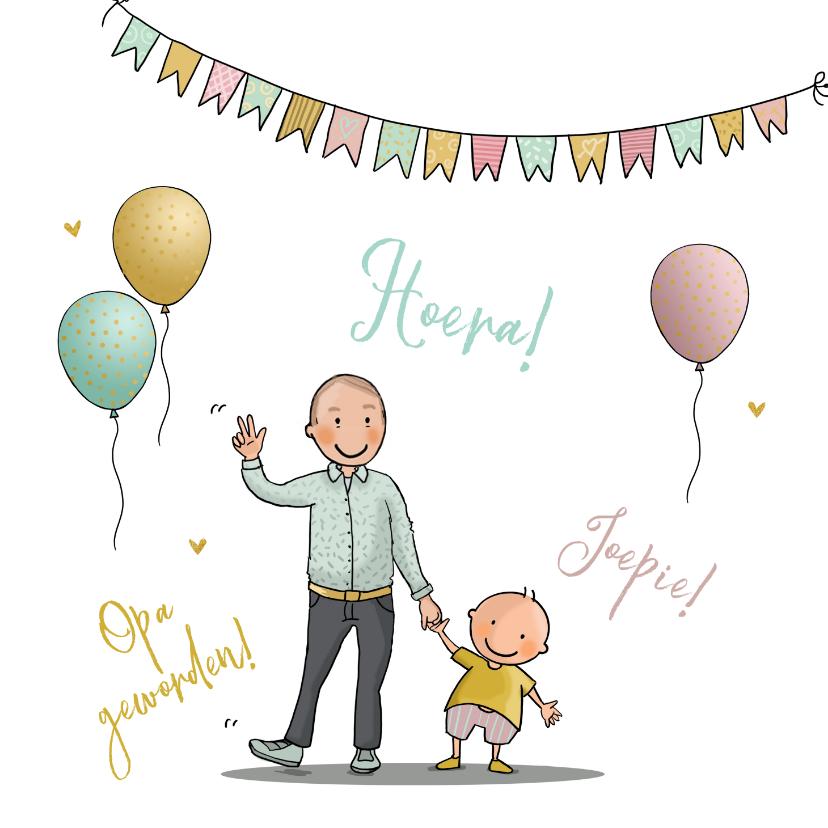 Felicitatiekaarten - Felicitatiekaart opa met kleinkind met ballonnen