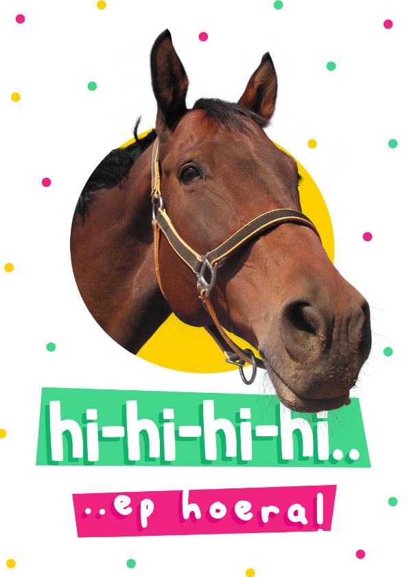 Felicitatiekaarten - Felicitatiekaart paard hi-hi-hiep hoera met confetti