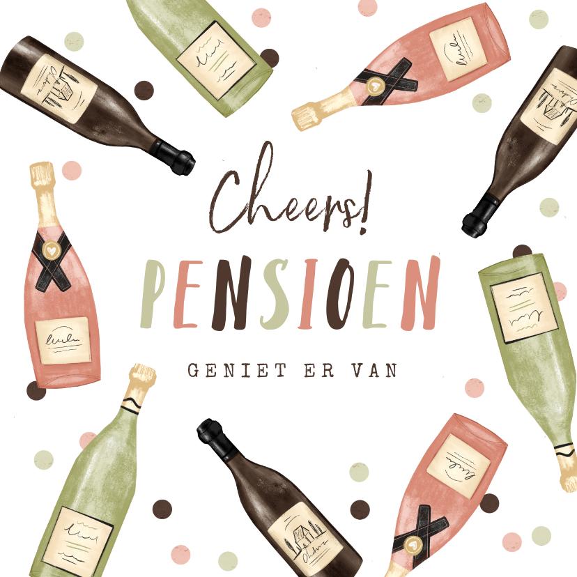 Felicitatiekaarten - Felicitatiekaart pensioen cheers wijntjes confetti