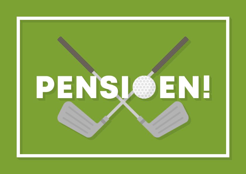 Felicitatiekaarten - Felicitatiekaart pensioen met golfbal en club