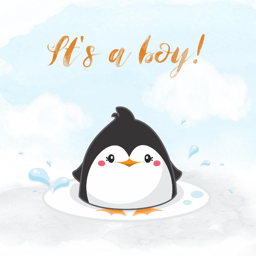 Felicitatiekaarten - Felicitatiekaart pinguin voor geboorte jongen