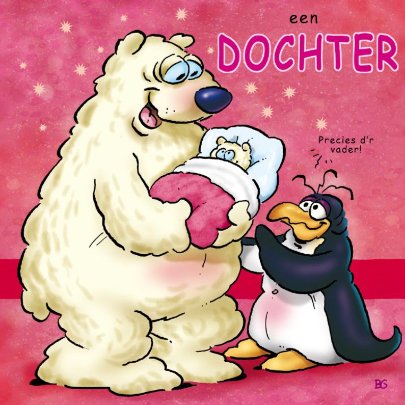 Felicitatiekaarten - Felicitatiekaart pinguins geboorte dochter 2 ijsbeer