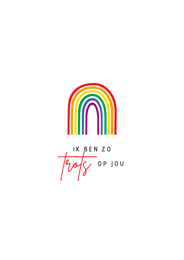 Felicitatiekaarten - Felicitatiekaart pride regenboog trots op jou