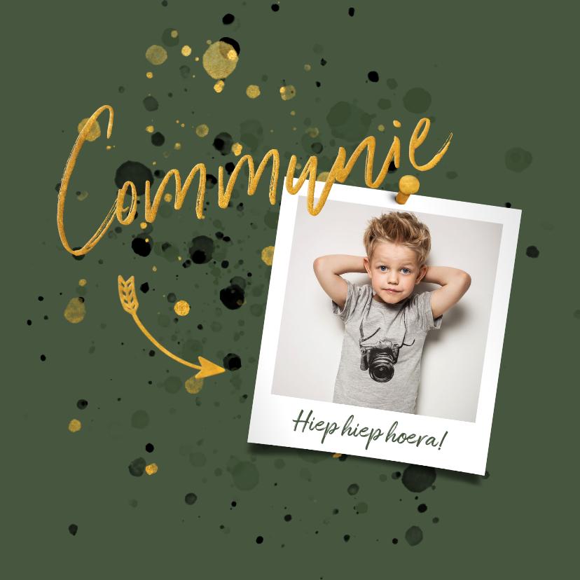 Felicitatiekaarten - Felicitatiekaart spetters goud donkergroen met foto