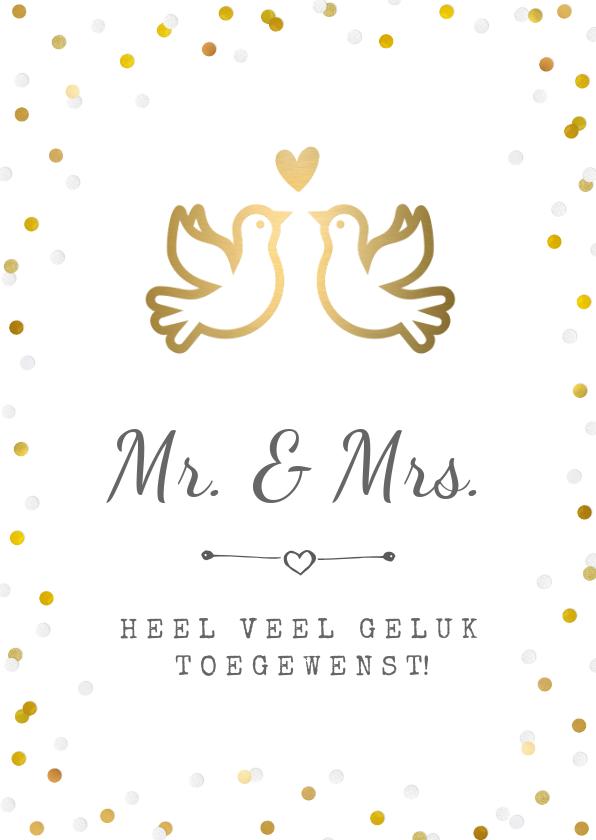 Felicitatiekaarten -  Felicitatiekaart trouwen met gouden duifjes en confetti