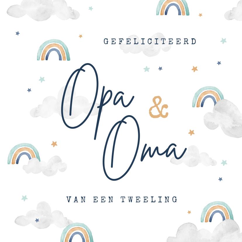 Felicitatiekaarten - Felicitatiekaart tweeling geboorte opa oma regenboogjes