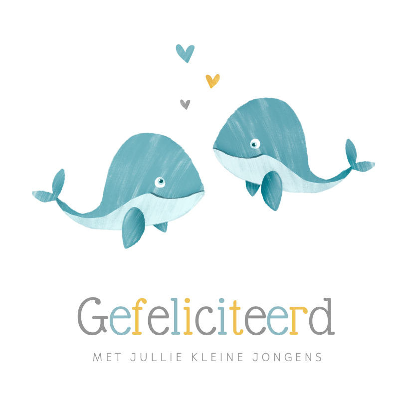 Felicitatiekaarten - Felicitatiekaart tweeling jongens walvissen hartjes geboorte