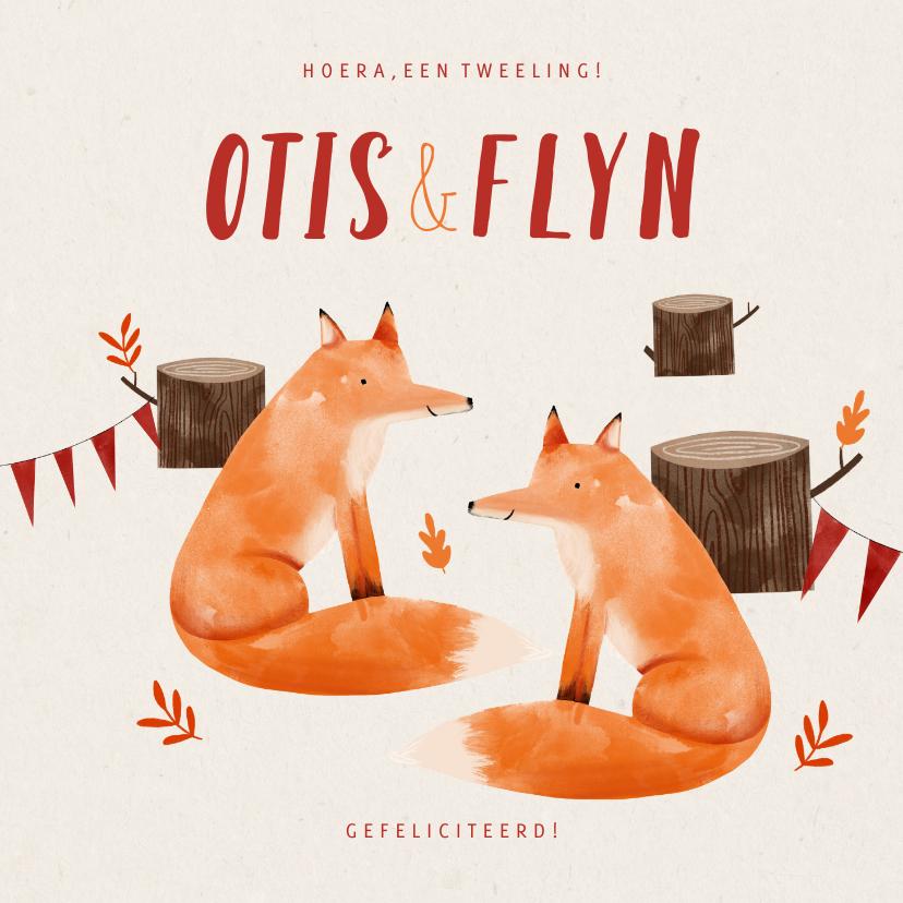 Felicitatiekaarten - Felicitatiekaart tweeling vosjes in het bos illustratie
