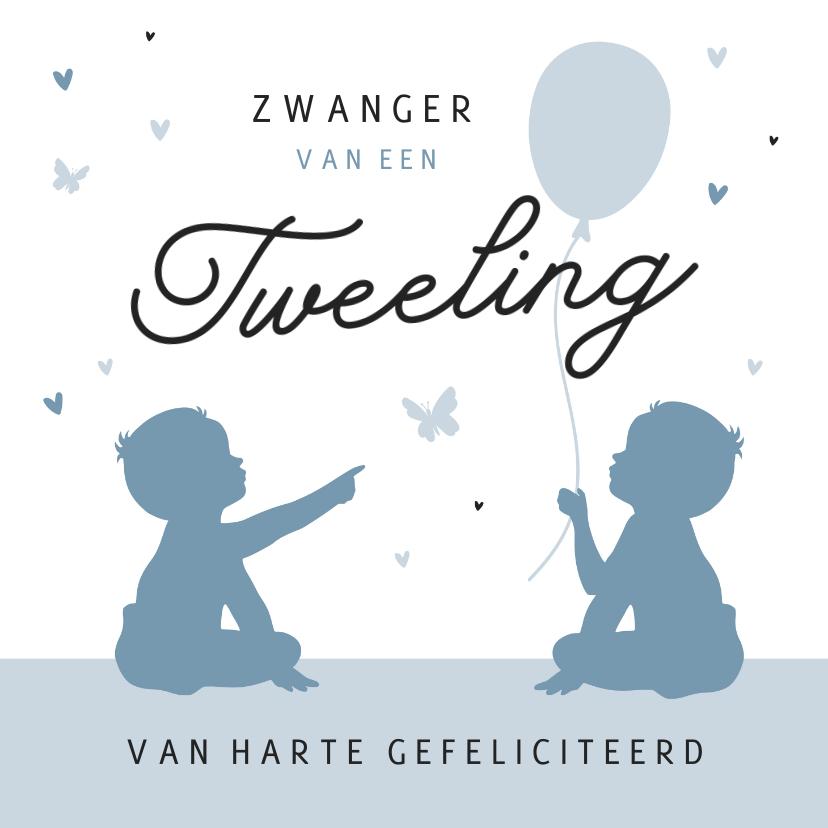 Felicitatiekaarten - Felicitatiekaart tweeling zwanger vlinders jongens silhouet
