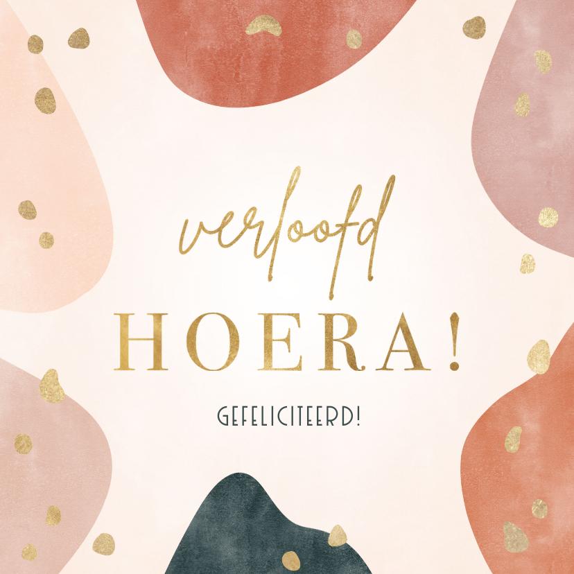 Felicitatiekaarten - Felicitatiekaart 'Verloofd hoera!' met geometrische vormen
