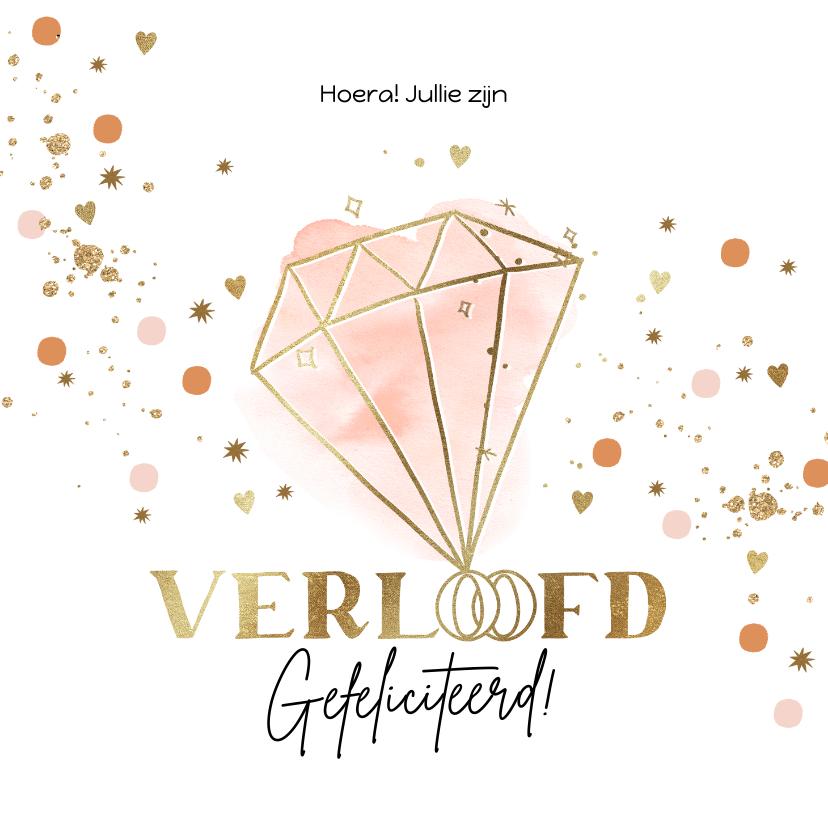Felicitatiekaarten - Felicitatiekaart verloofd met ring in watercolour en goud