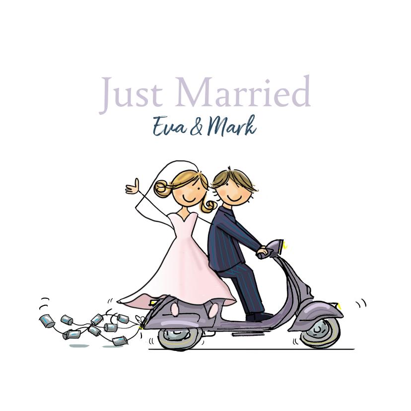 Felicitatiekaarten - Felicitatiekaart Vespa scooter just married