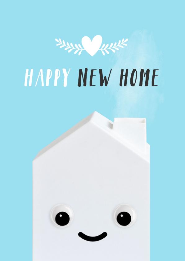 Felicitatiekaarten - Felicitatiekaart voor een nieuw huis met huisje met oogjes