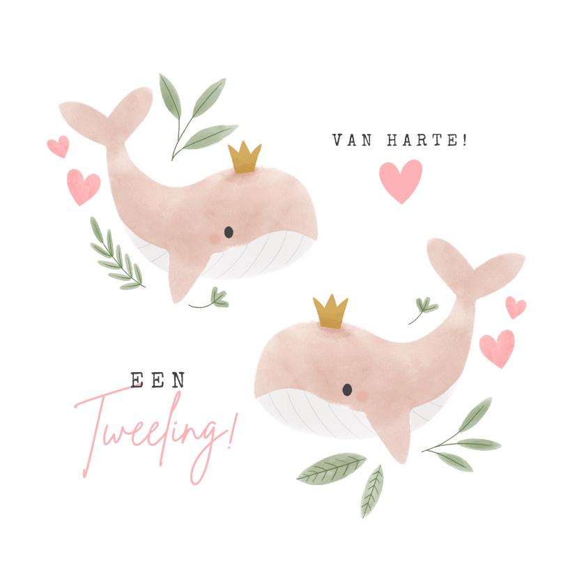 Felicitatiekaarten - Felicitatiekaart voor een tweeling met walvissen en hartjes