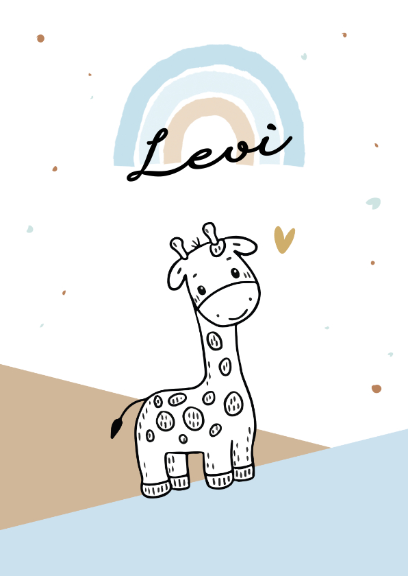 Felicitatiekaarten - Felicitatiekaart voor geboorte jongen met giraf in de bergen